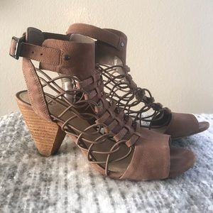 Strappy brown leather heels